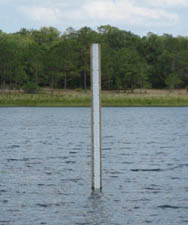 Staff gauge in Lake Barco